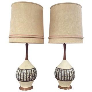 1960's Quartite Tile Lamps - a Pair