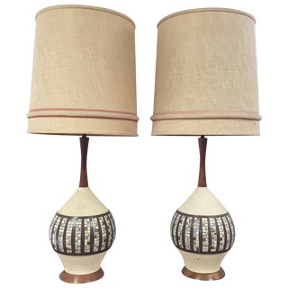1960's Quartite Tile Lamps - a Pair