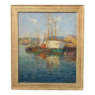 Frederick Carl Smith -Boats in the Port -Impressionist Oil painting c1930s Oil painting on Canvas -Signed