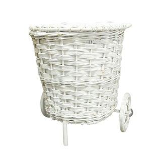 Vintage White Wicker Market Basket
