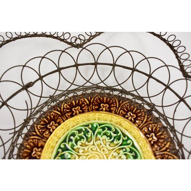 German Majolica & Looped Wire Basket - Image 8 of 11