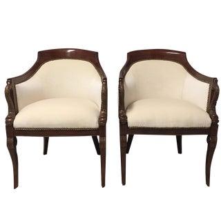 Mahogany & Velvet Tub Chairs - A Pair
