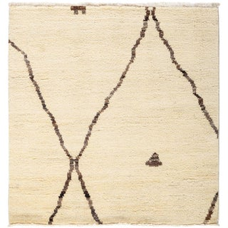 """Moroccan Beni Ourain Hand Knotted Area Rug - 3' 0"""" X 3' 1"""""""