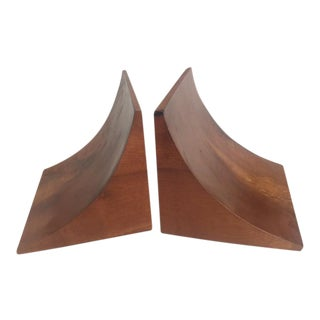 Burled Walnut Art Deco Bookends - A Pair