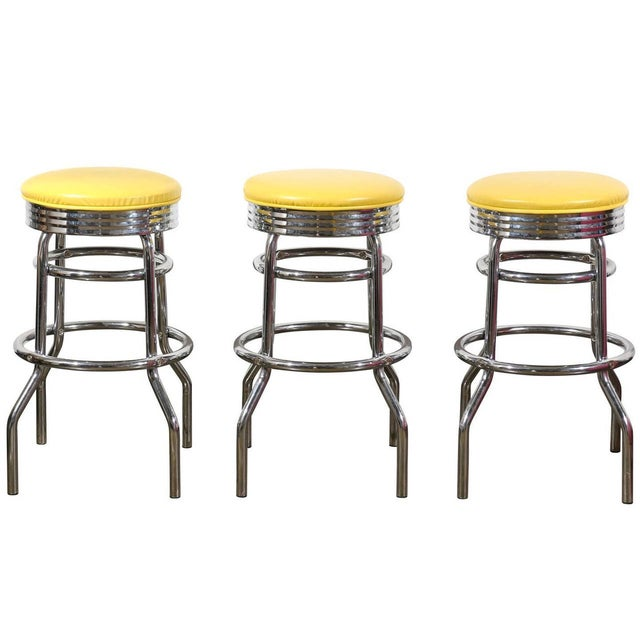 Yellow Swivel Bar Stools Set Of Three Chairish