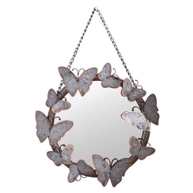 Image of Antiqued Metal Butterfly Mirror