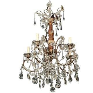 Italian Six-Light Crystal and Gilt Wood Chandelier