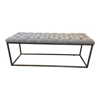 Fabric & Metal Gray Button Tufted Bench