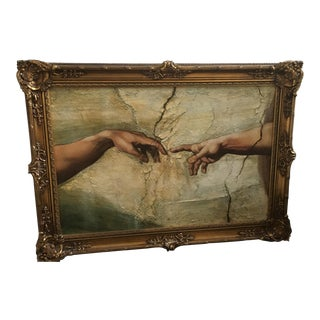 """Framed """"Creation of Adam"""" Painting"""
