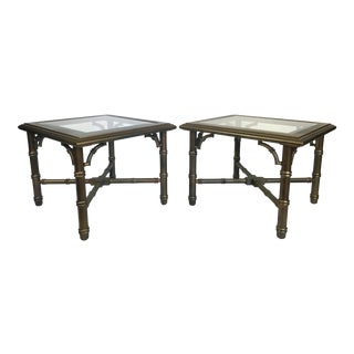Lane Faux Bamboo Brass Laquered End Tables - Pair