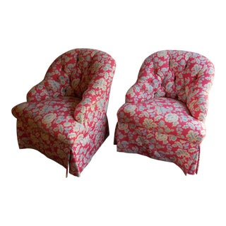 1950s Floral Accent Chairs - A Pair