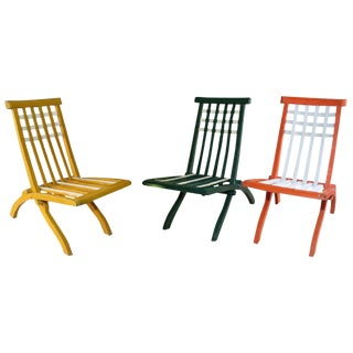 Set of Wooden Folding Chairs in the style of Mallet-Stevens, French, 1920s