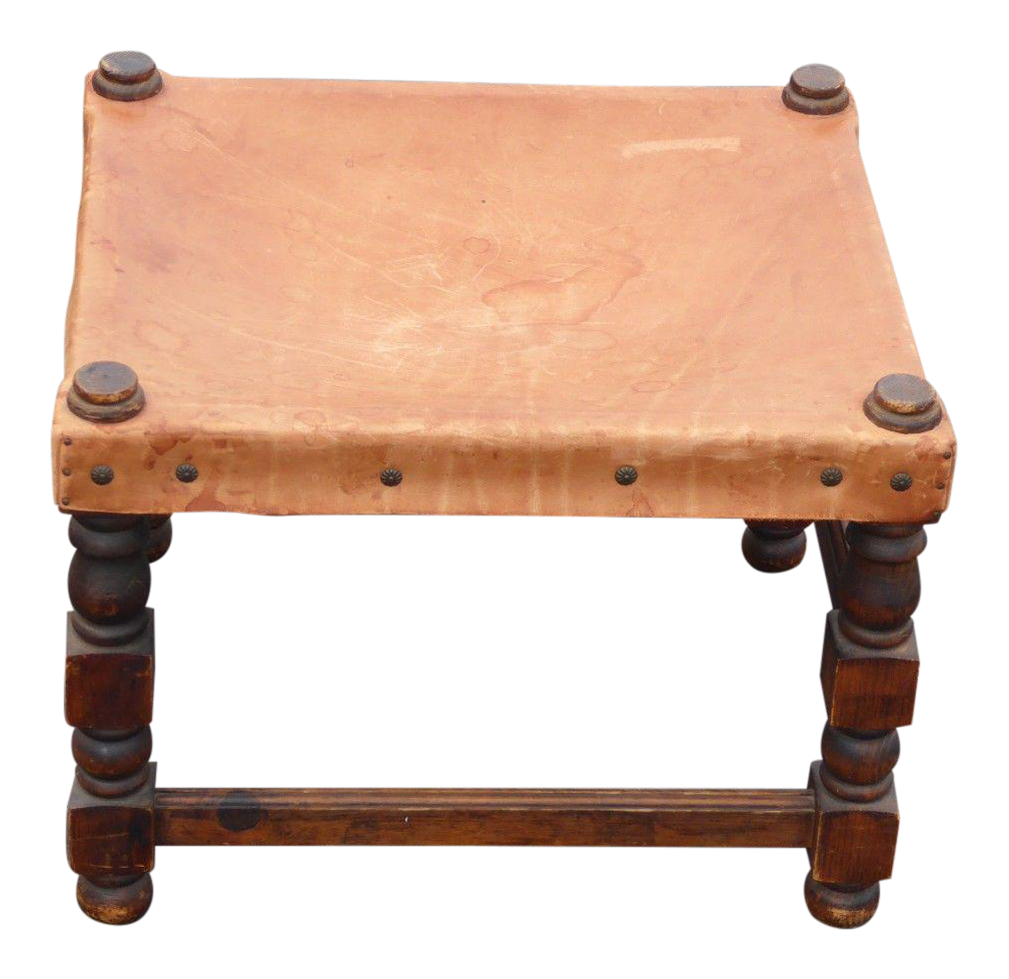 Vintage Rustic Spanish Style Tan Leather Stool Ottoman - Image 1 of 11  sc 1 st  Chairish & Vintage Rustic Spanish Style Tan Leather Stool Ottoman | Chairish islam-shia.org