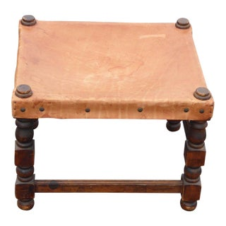 Vintage Rustic Spanish Style Tan Leather Stool Ottoman