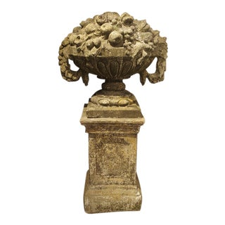 Antique Patina Vase on Pedestal from France, Cast Stone