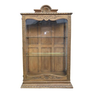 Vintage Spanish Style Carved Curio Cabinet