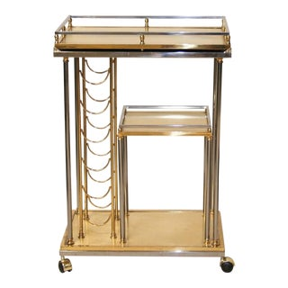 Mid-Century Italian Brass and Chrome Bar Cart