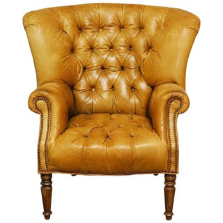Georgian Tufted Leather Chesterfield Library Chair or Wingback