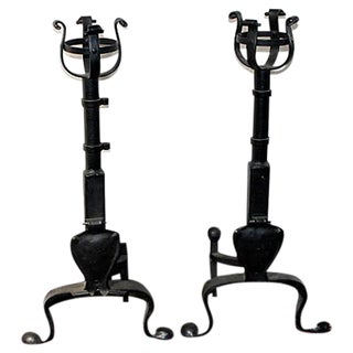 Wrought Iron Pair of Andirons
