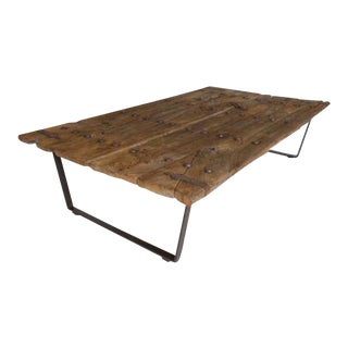 Early Japanese Elm Door Coffee Table with Iron Nails on Custom Base