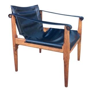 Brown Saltman Leather Safari Style Sling Chair