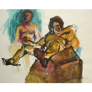 Boyfriends, Watercolor Drawing on Paper