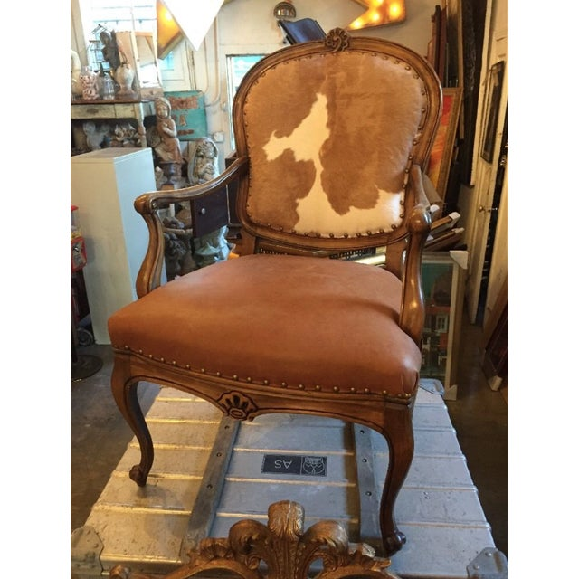 1930s Re-Upholstered Cowhide Leather Chairs - Image 2 of 11