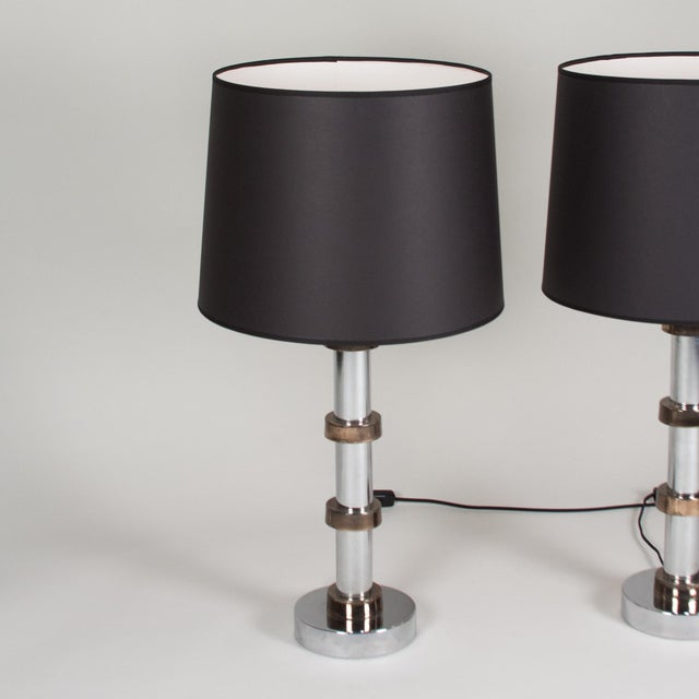 Vintage 1960s Faux Bamboo Chrome Lamps - A Pair - Image 8 of 8