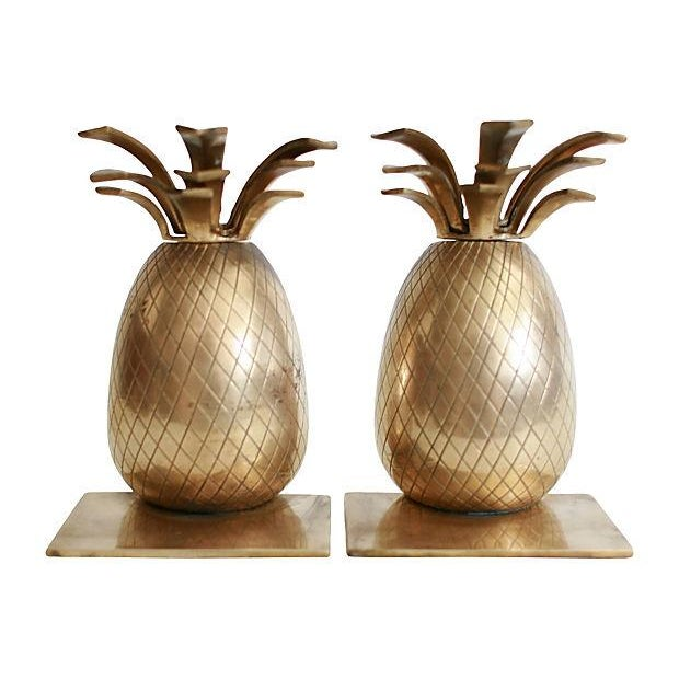 Brass Pineapple Bookends - A Pair - Image 1 of 3
