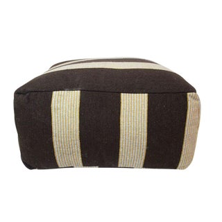Moroccan Chocolate & Beige Striped Pouf