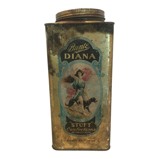 1920's Vintage Bunte Brothers Diana Stuft Confections Tin - Image 1 of 7