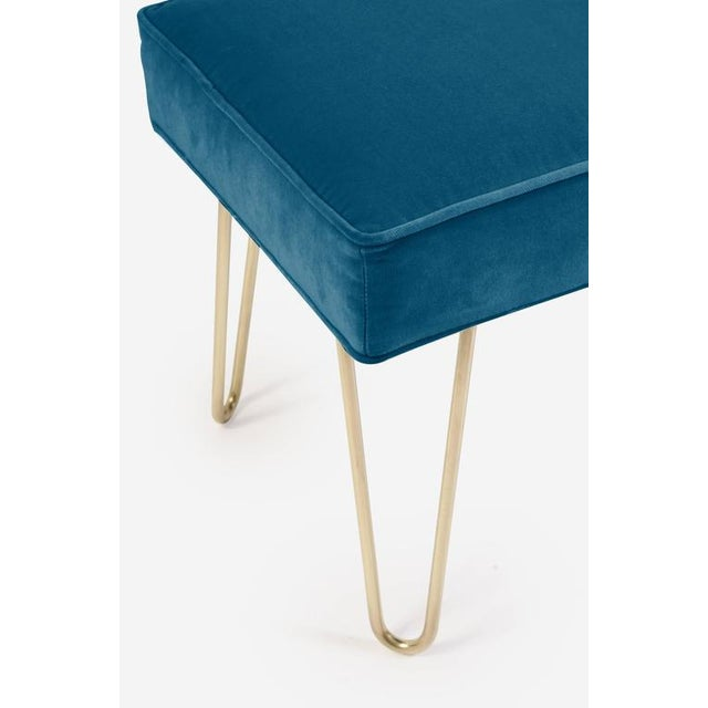 Petite Brass Hairpin Ottomans in Indigo Velvet by Montage - Image 1 of 1