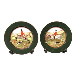 Vintage Fitz and Floyd Fox Hunting Plates - A Pair