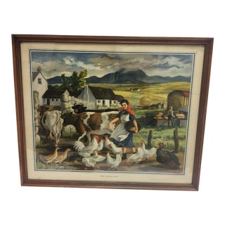 "A. Lambe Vintage ""Mixed Farming in Eire"" Lithograph"