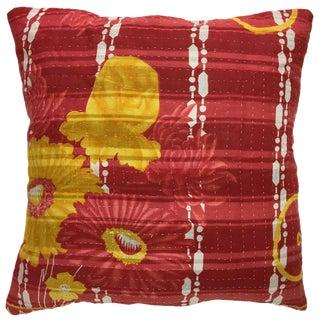 "Red Floral Vintage Kantha Pillow 16"""