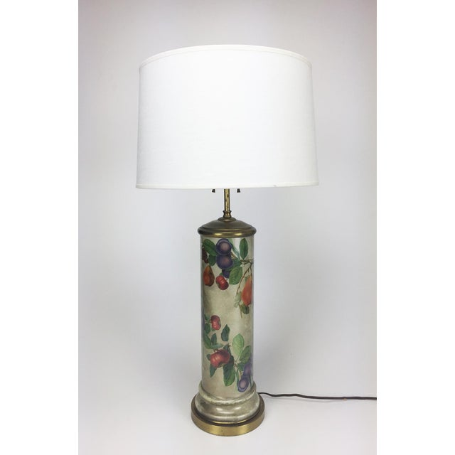 Mid-Century Decoupage Silvered Glass Table Lamp - Image 2 of 8