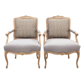 Louis XV Style Greek Key Fauteuils - A Pair