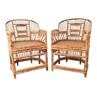 Vintage Brighton Style Bamboo Arm Chairs - Pair