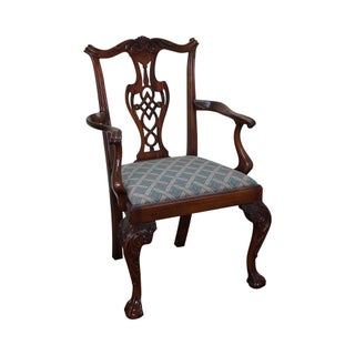 Solid Mahogany Chippendale Style Ball & Claw Foot Arm Chair