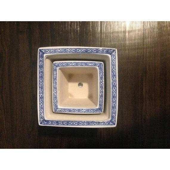 Blue & White Chinoiserie Square Planters - A Pair - Image 4 of 4