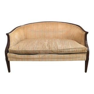 Antique Yellow Striped Velvet Loveseat