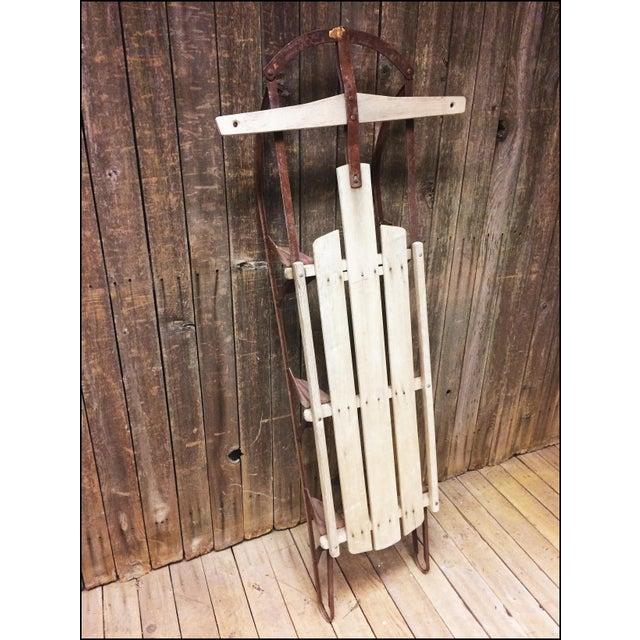 Vintage Brown Weathered Wood & Metal Runner Sled - Image 6 of 11