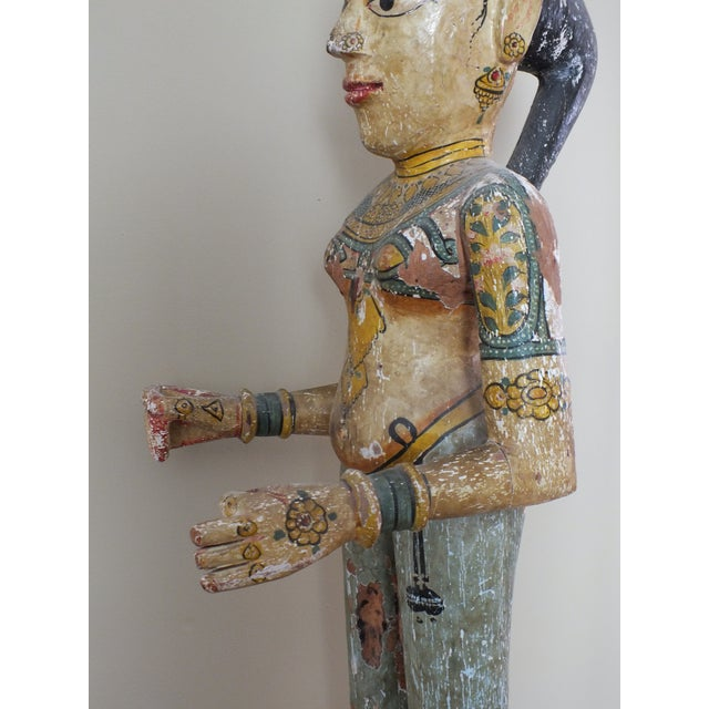 """41"""" Tall Antique Asian Indian Carved Wood Statue - Image 6 of 11"""