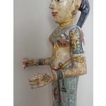 "Image of 41"" Tall Antique Asian Indian Carved Wood Statue"