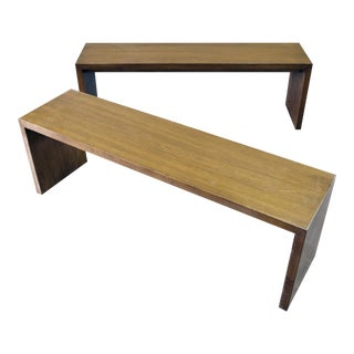 Walnut Stained Minimal Farmhouse Benches - Pair
