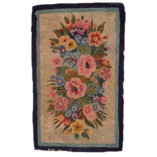 "Handmade Antique American Hooked Rug - 1'9"" X 2'10"""