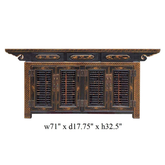 Image of Dark Brown Rattan Top Abacus Accent Credenza