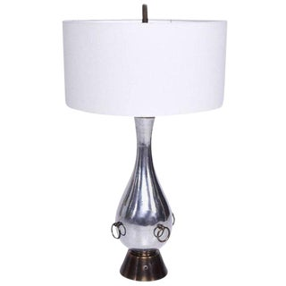 Mexican Modernist Aluminium & Brass Table Lamp Attributed to Arturo Pani