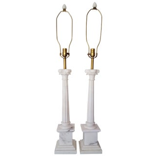 Tall Marble Classical Column Table Lamps - Pair