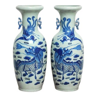 Chinese Blue and White Ceramic Dragon Vases- a Pair